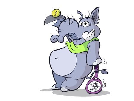 Elefante está preparado para un partido de tenis