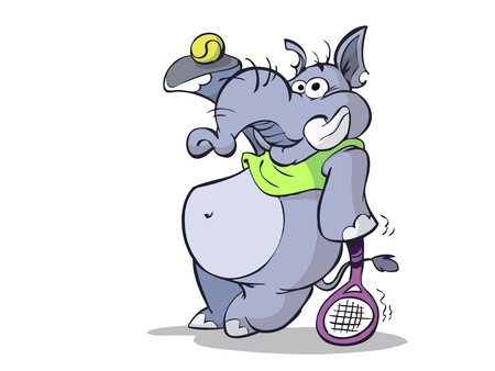 Elephant is ready for a game of tennis Illustration