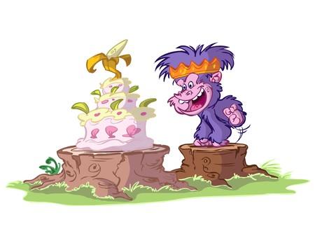 kid gorilla ready for his birthday cake
