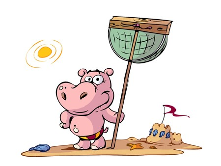 kid hippo on beach with net