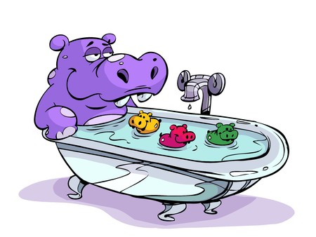 bath tub: Hippo playing with bath toys