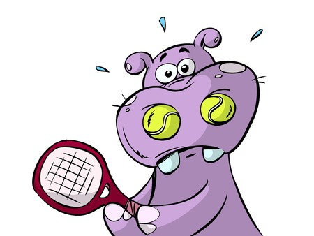 Hippo with two balls in nose Illustration