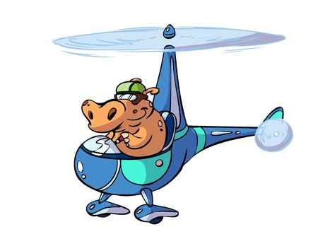 Hippo pilot flying a helicopter Stock Vector - 7247721