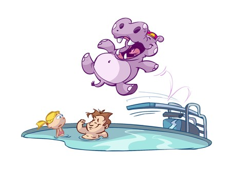 Hippo jumping in pool with kids