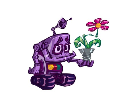 Cute purple robot with flower