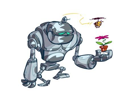 bot: big silver robot with flower  Illustration