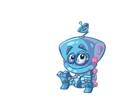 cute blue baby robot