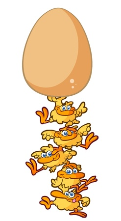 chick tower balancing an egg Illustration