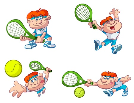 tennis serve: collection of fun cartoon tennis players