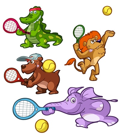 a collection of tennis playing animals Illustration