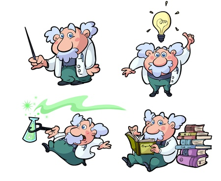 a collection of fun cartoon science professors