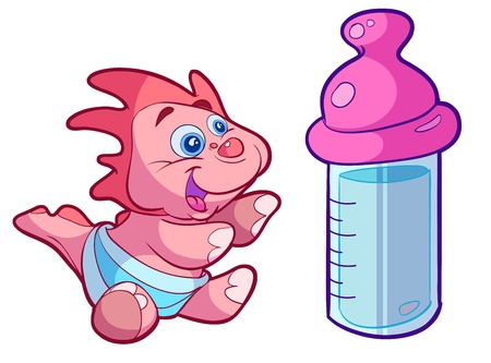 cute baby dino with big milk bottle Vector