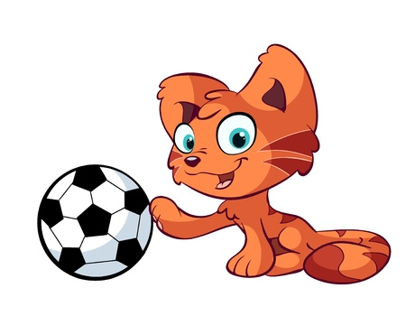 cute red cat and football Stock Vector - 12448588