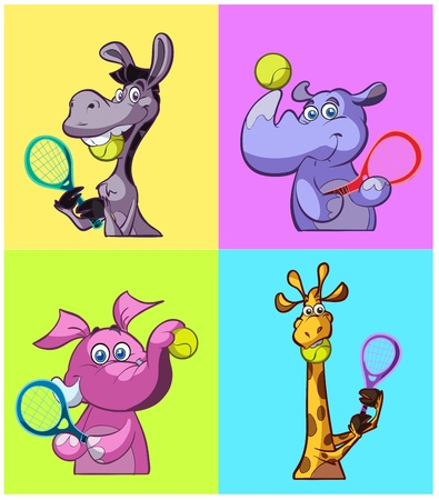 collection of tennis playing animals Illustration