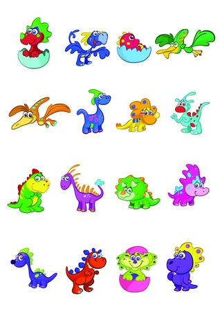 megaset of 16 cute and colorful baby dino s Vector