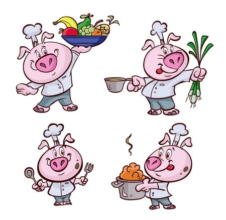 Un buen cocinar cerdo gordo Foto de archivo - 20659128