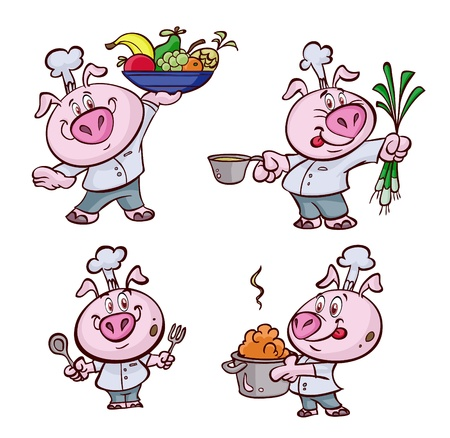 chancho caricatura: una bonita cocina grasa de cerdo