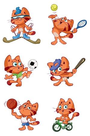a cute red cat sports set