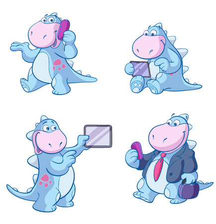 cute business dino in different poses Illustration