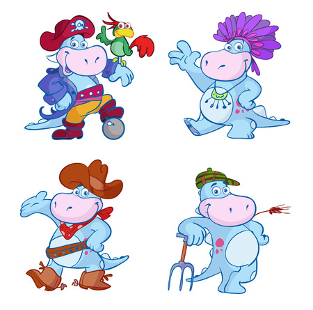 cute blue dino pirate cowboy farmer indian