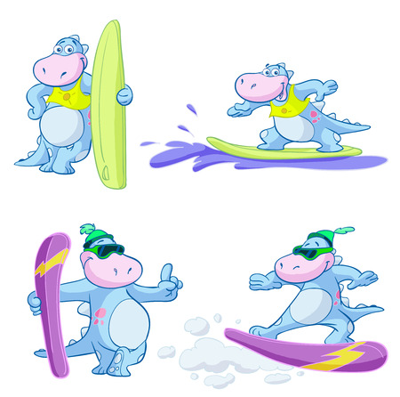 cute dino snowboard surf set