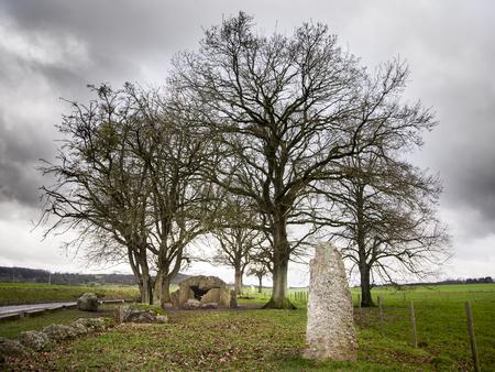 dolmen and menhir in Wéris in Belgium Banque d'images