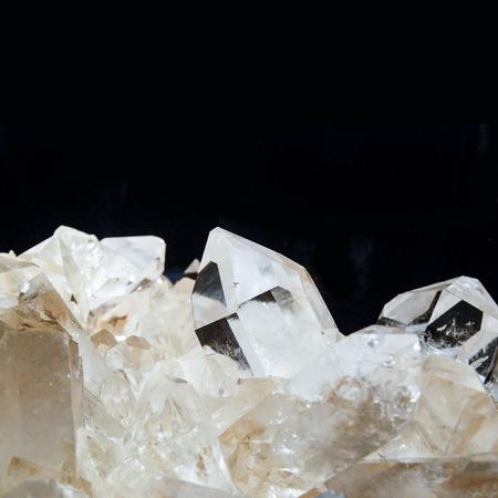 very big quartz crystals on black background