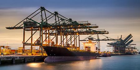 nightshift in Deurganckdock Anwerp unloading containers