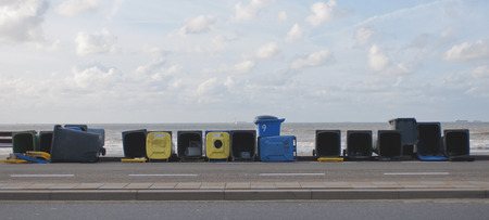 scheveningen: Empty Garbage Cans on the Boulevard in Scheveningen, near The Hague, Den Haag, The Netherlands Stock Photo