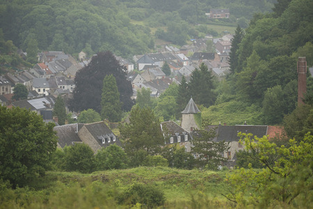 wallonie: Overview of a small village in a Hill Country, Nismes in Belgium