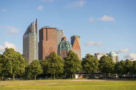 city park skyline: Skyline of the Hague with Skyscrapers and City Park Malieveld, the Netherlands