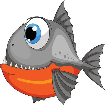 A cartoon piranha fish isolated on white background Ilustrace