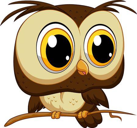 Cute owl cartoon on a tree branch illustration
