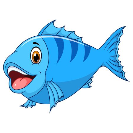 Cute fish cartoon isolated on white background  イラスト・ベクター素材