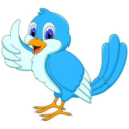 Cute blue bird cartoon giving a thumbs up