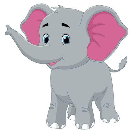 Cute cartoon happy baby elephant smile illustration