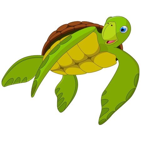 Cute sea turtle cartoon with white background