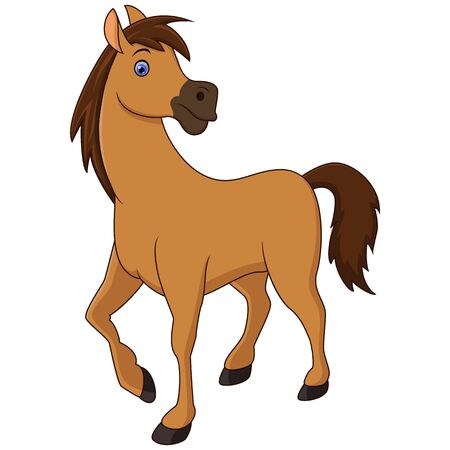 Cute brown horse cartoon isolated on white background Vector Illustration