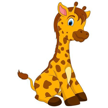 Una caricatura de jirafa bebé sentada en el suelo