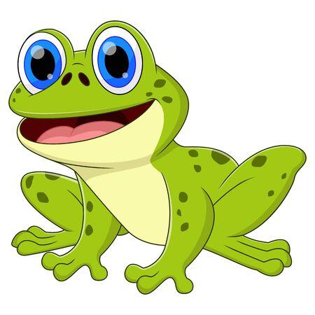 Ein Froschtier-Cartoon sitzt und lächelt