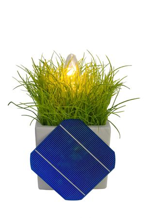 5 Solar-Cell in flower pot with lamp Stock Photo