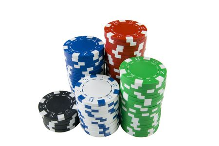 a pile of poker chips Stock Photo