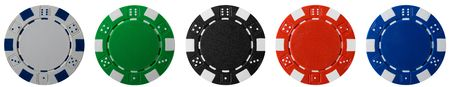 five isolated poker chips Stock Photo