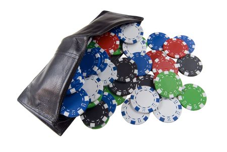 a wallet full of poker chips