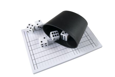 a yatzy block and dices