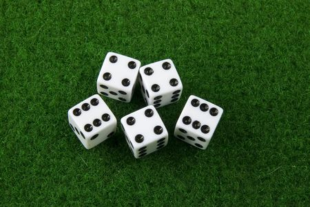 dices on a poker table Stock Photo