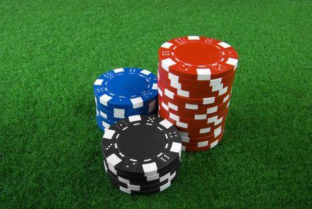 pile of poker chips Stock Photo