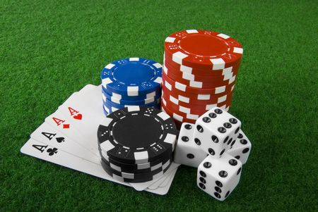 poker chips cards and dices