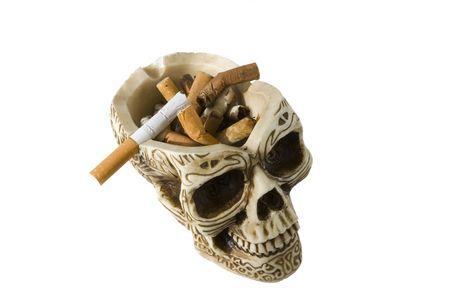 Skull ashtray Stock Photo
