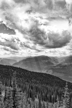 treed: Sun rays shining through clouds onto treed mountains